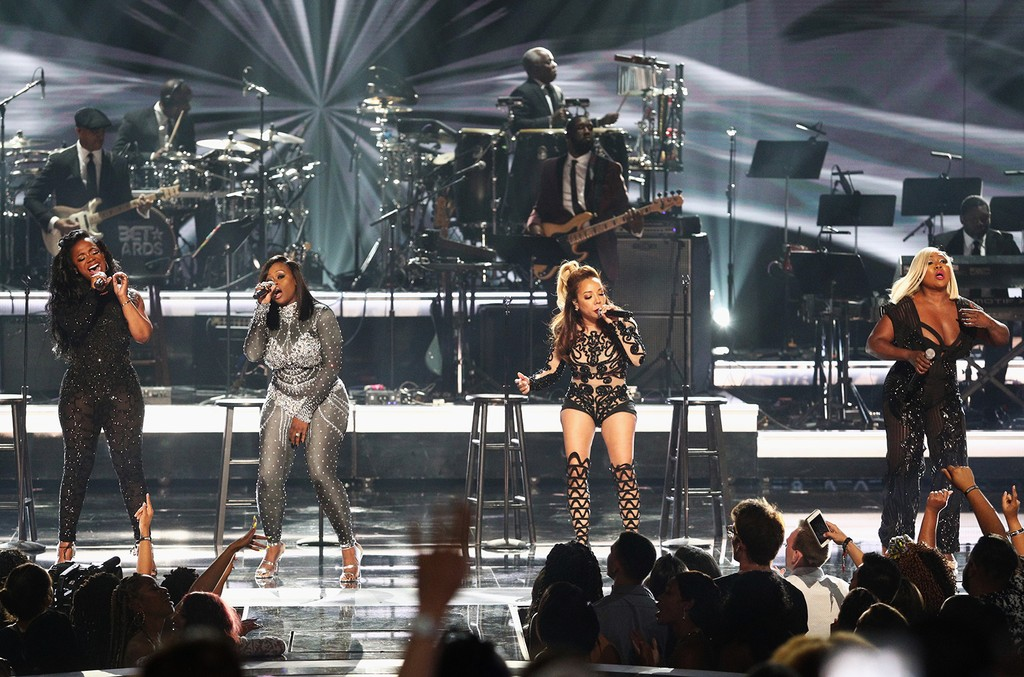 Kandi Burruss, Tamika Scott, Tameka Cottle and LaTocha Scott of Xscape perform onstage at 2017 BET Awards at Microsoft Theater on June 25, 2017 in Los Angeles.