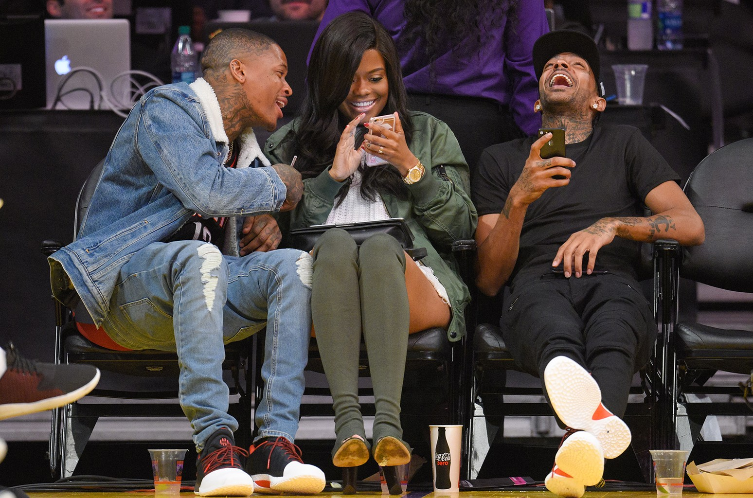 YG, Karen Civil and Nipsey Hussle in 2016