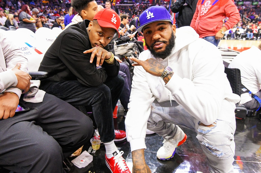 YG and The Game attend a basketball game between the Los Angeles Lakers and the Los Angeles Lakers at Staples Center on Jan. 14, 2017 in Los Angeles.
