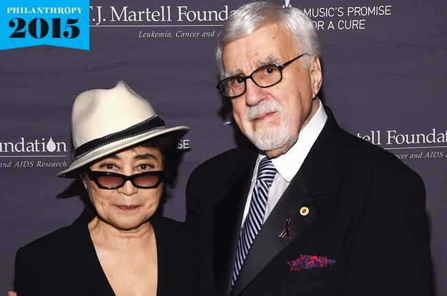 Yoko Ono (L) and T.J. Martell Foundation founder and chairman Tony Martell