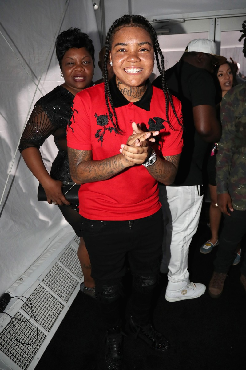 Young M.A. backstage at the 2017 BET Awards at Microsoft Square on June 25, 2017 in Los Angeles.