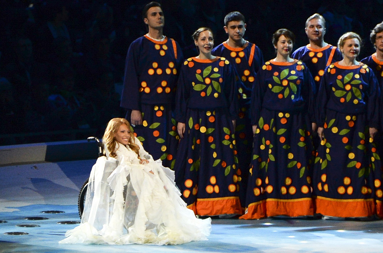 Yulia Samoilova during the opening ceremony of the 2014 Paralympic Games in Sochi, Russia on March 7, 2014.