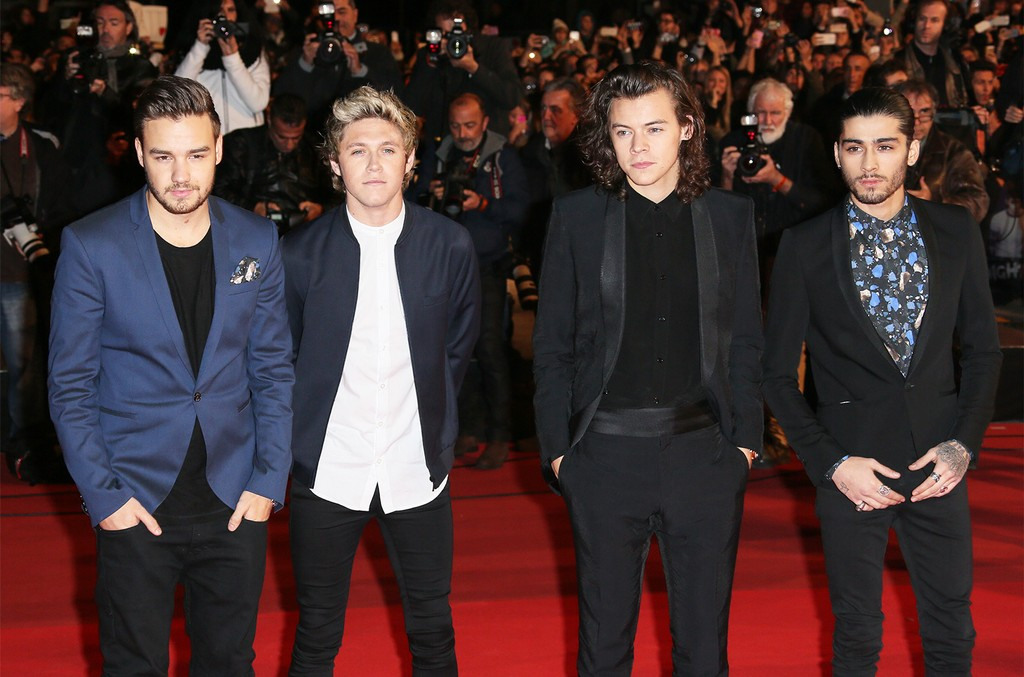 Liam Payne, Niall Horan, Harry Styles and Zayn Malik of One Direction arrive at the 16th NRJ Music Awards at the Palais des Festivals on Dec. 13, 2014 in Cannes, France.