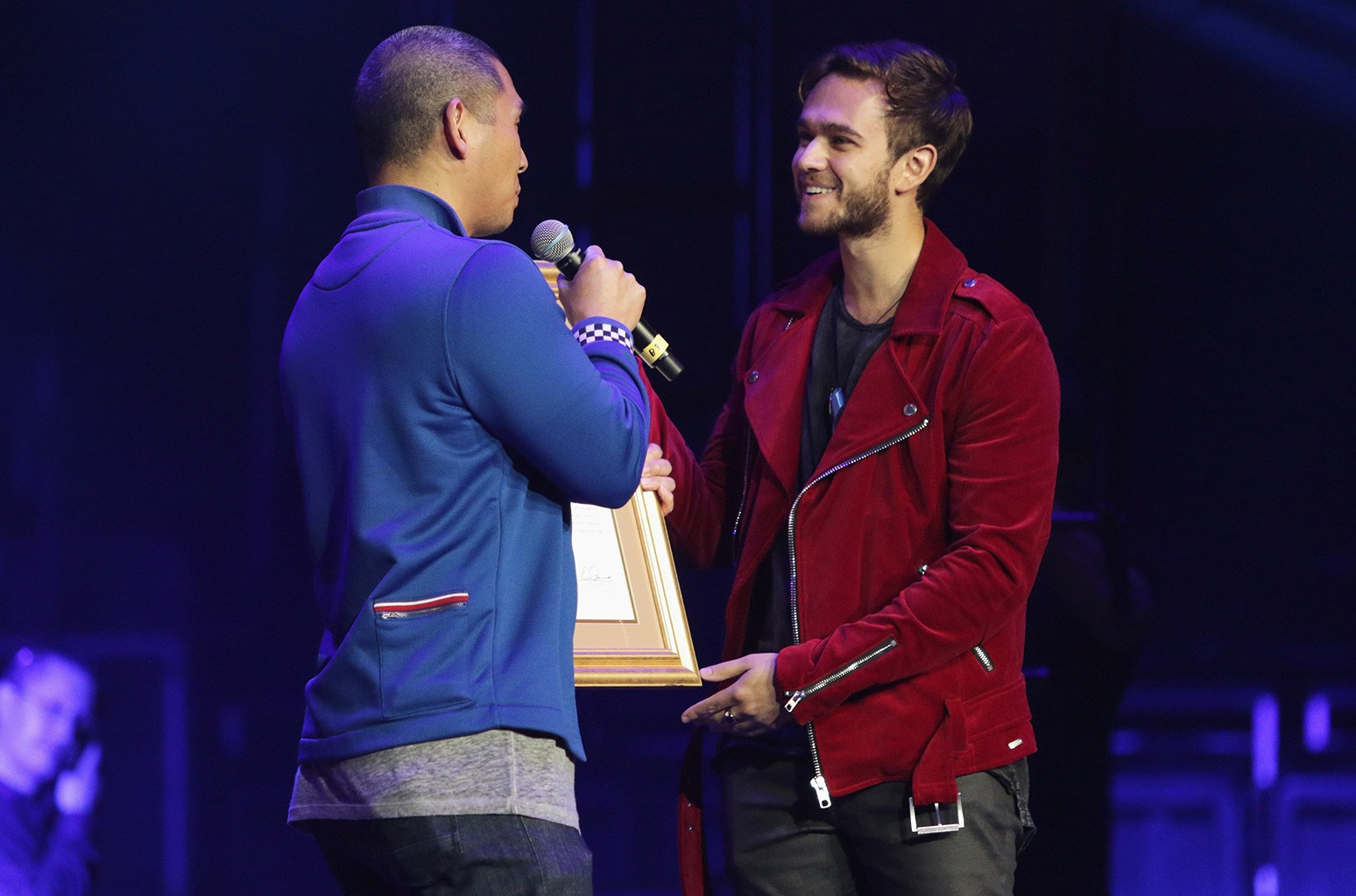 Zedd recieves a placque from the Mayors Office during Zedd Presents WELCOME! - Fundraising Concert Benefiting The ACLU - Show at Staples Center on April 3, 2017 in Los Angeles.