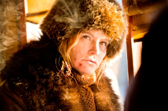 "Jennifer Jason Leigh stars as Daisy Domergue in ""The Hateful Eight."""