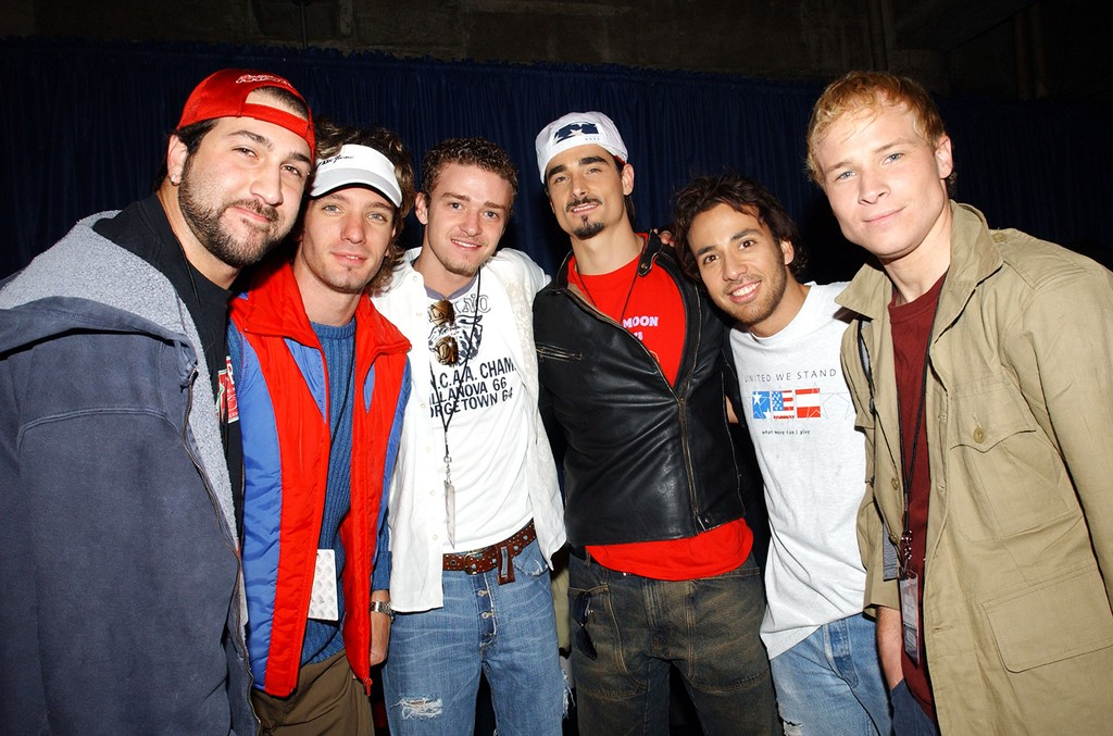 *NSYNC and Backstreet Boys during United We Stand Concert at RFK Stadium in Washington, D.C.