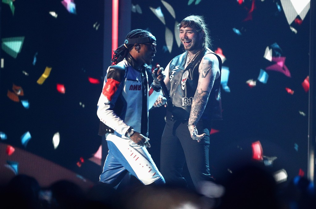 Quavo of Migos and Post Malone perform onstage at 2017 BET Awards at Microsoft Theater on June 25, 2017 in Los Angeles.