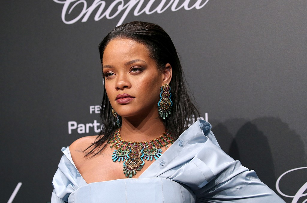 Rihanna attends the Chopard ?SPACE Party?, hosted by Chopard's co-president Caroline Scheufele and Rihanna, at Port Canto on May 19, 2017, in Cannes, France.