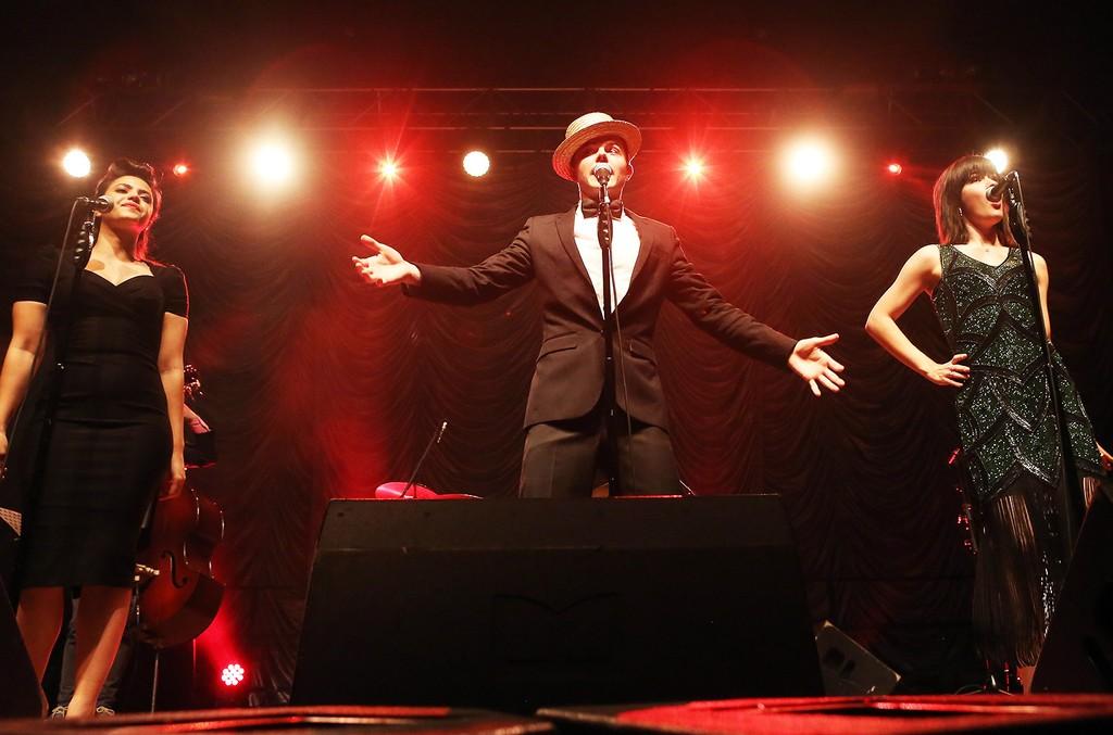 Cristina Gatti, Von Smith, and Sara Niemietz of Scott Bradlee's Postmodern Jukebox perform during a concert at Huxleys Neue Welt on May 25, 2016 in Berlin.