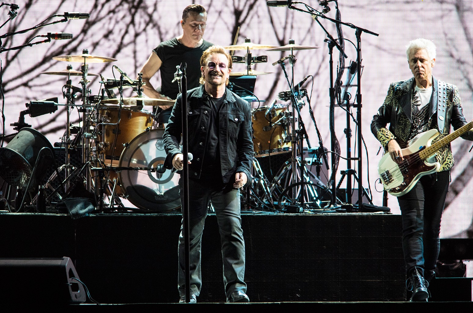 Larry Mullen Jr, Bono and Adam Clayton of U2 perform during The Joshua Tree Tour 2017 at Mercedes-Benz Superdome on Sept. 14, 2017 in New Orleans.