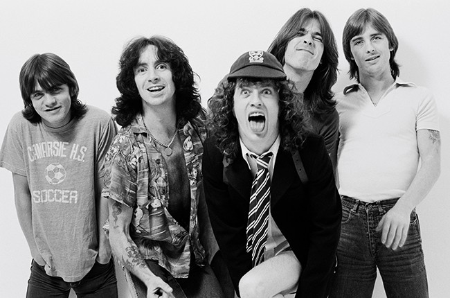 AC/DC posed in a studio in London in August 1979
