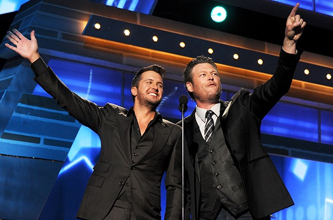Co-hosts Luke Bryan and Blake Shelton speak onstage during the 49th Annual Academy of Country Music Awards 2014