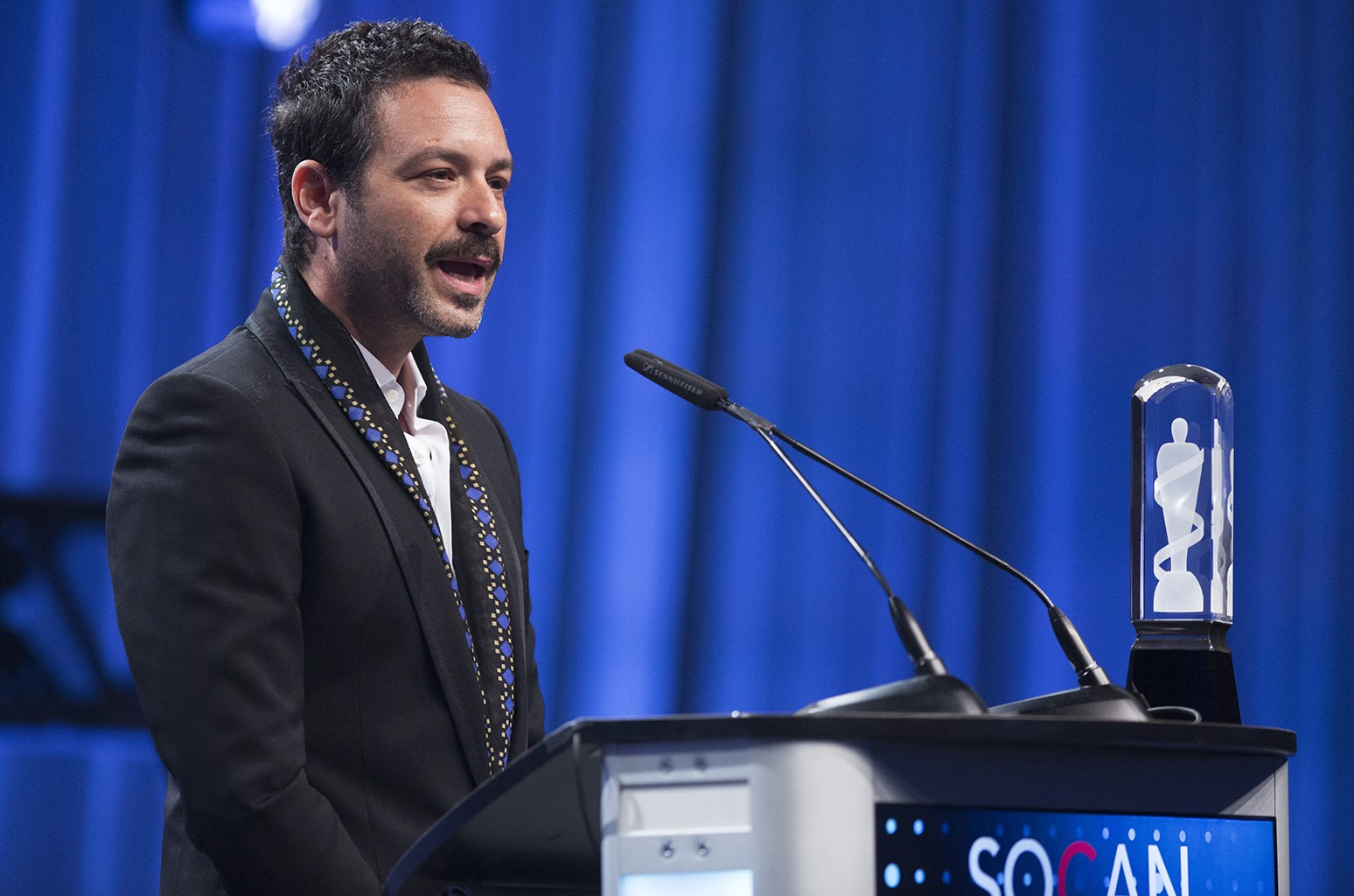 Adam Cohen accepts the 'Artist of the Year' award on behalf of his father Leonard Cohen, at the 2017 Juno Awards at Shaw Centre in Ottawa on April 1, 2017.
