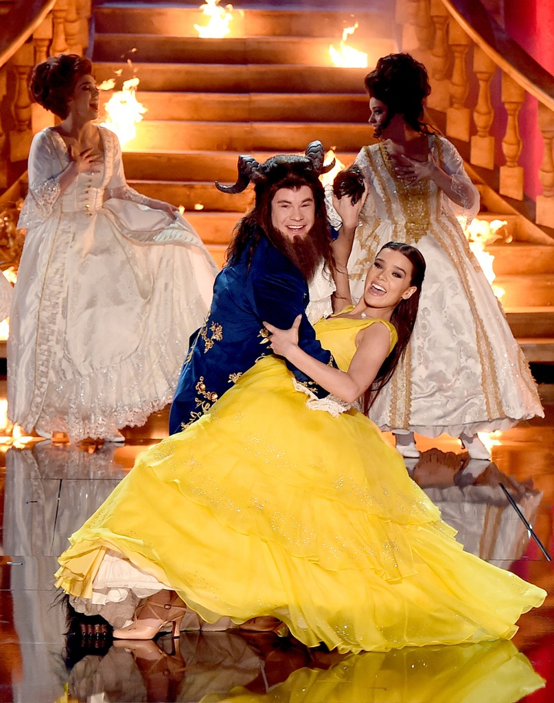 Host Adam DeVine and Hailee Steinfeld perform onstage during the 2017 MTV Movie and TV Awards at The Shrine Auditorium on May 7, 2017 in Los Angeles.