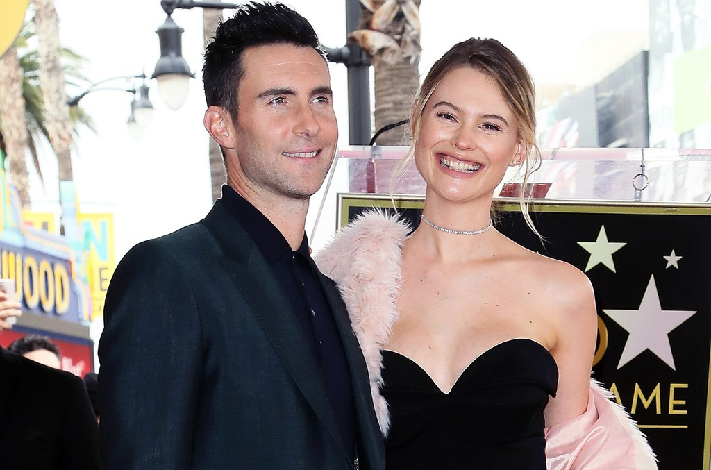 Adam Levine and Behati Prinsloo on the Hollywood Walk of Fame on Feb. 10, 2017 in Hollywood, Calif.