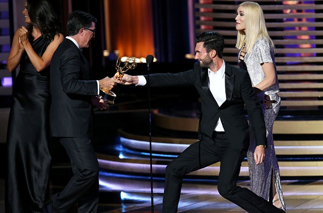 Adam Levine and Gwen Stefani, 2014 Emmy Awards.