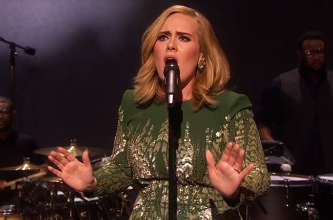 """Adele performs """"Hello"""" for the first time on BBC Music."""