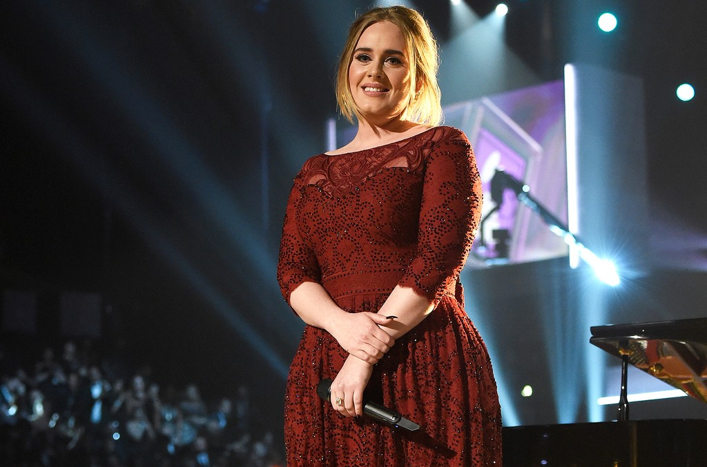 Adele performs during The 58th Grammy Awards