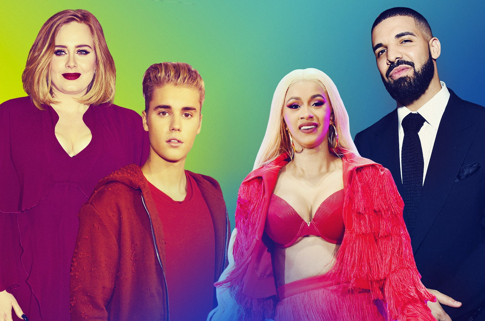 Adele, Justin Bieber, Cardi B and Drake