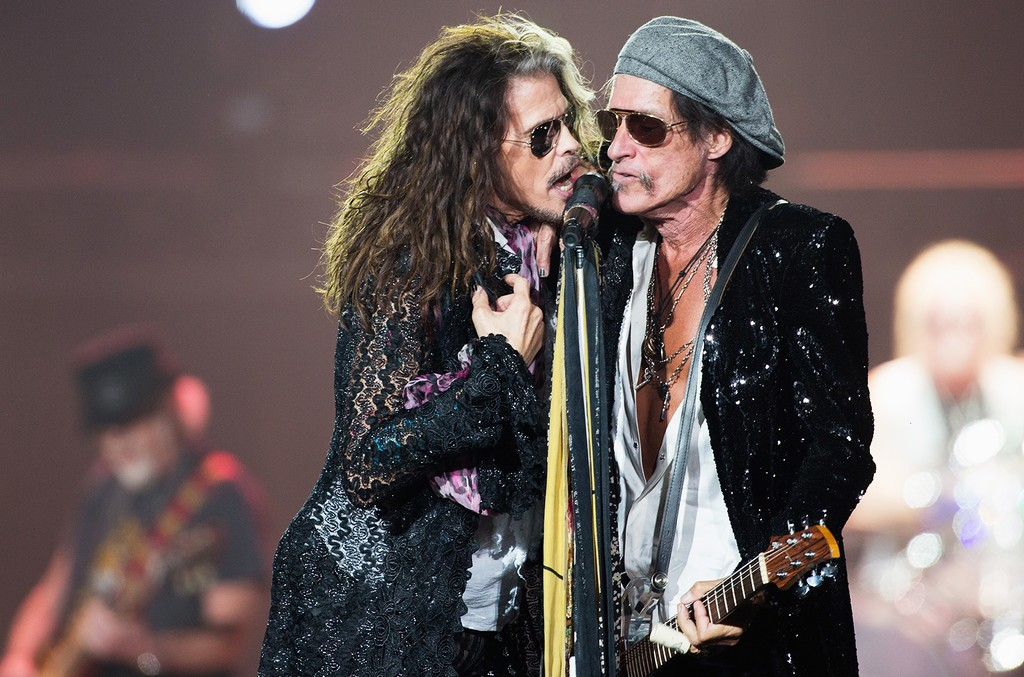 Steven Tyler and Joe Perry of Aerosmith perform at Arena Ciudad de Mexico on Oct. 27, 2016 in Mexico City, Mexico.