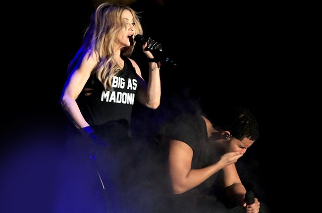 Madonna and Drake perform onstage during day 3 of the 2015 Coachella