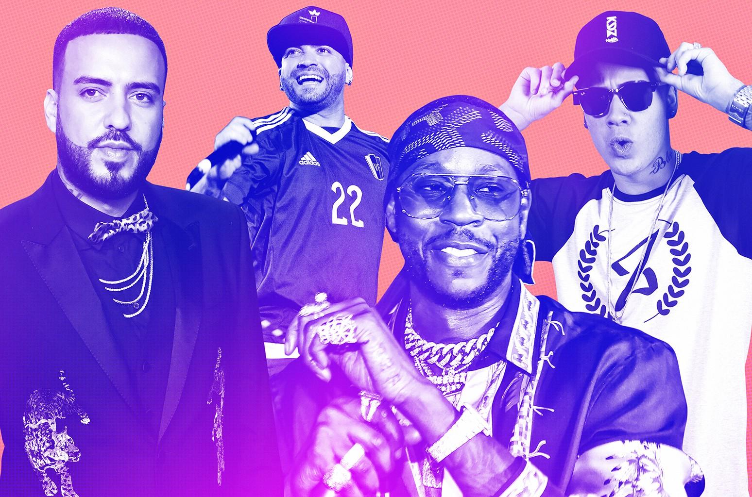 From left: French Montana, Nacho, 2 Chainz & MC kevinho