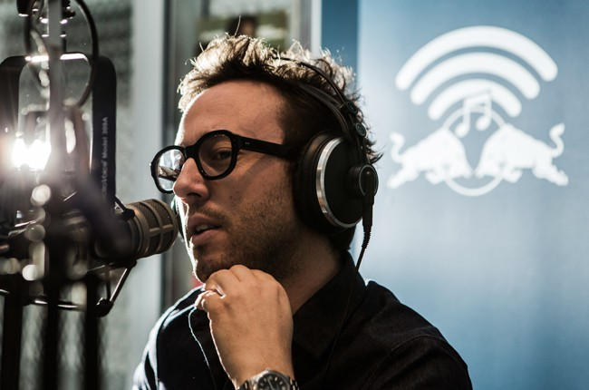 Agoria is interviewed in the Red Bull Music Academy pop-up radio station, at Red Bull Guest House in Miami