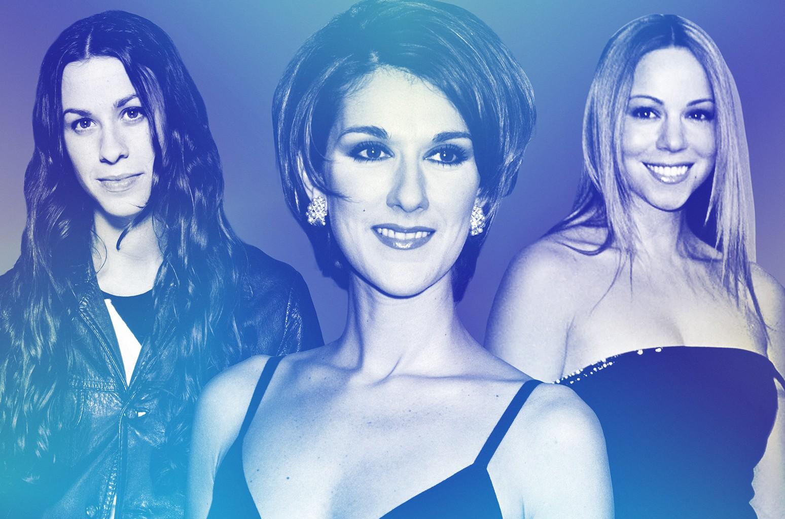 From left: Alanis Morissette, Celine Dion & Mariah Carey