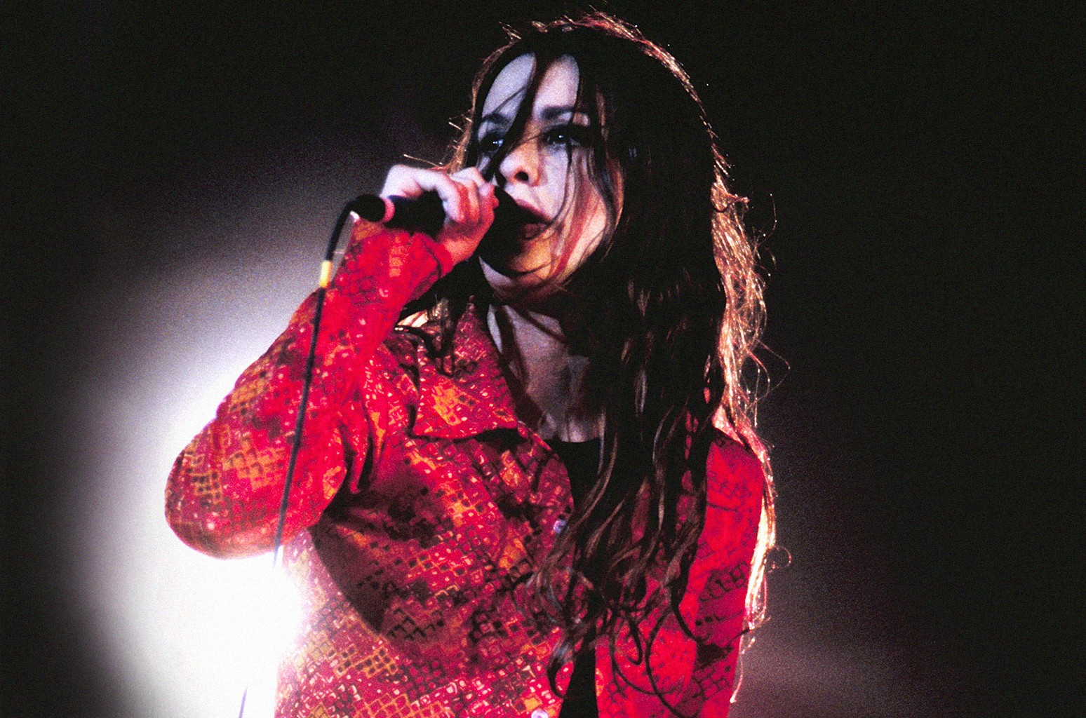 Alanis Morissette performs at the Greek Theater in Berkeley, Calif. on June 7, 1996.
