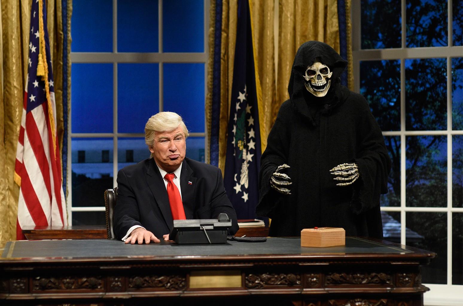 Alec Baldwin as President Donald J. Trump, Mikey Day as advisor Steve Bannon
