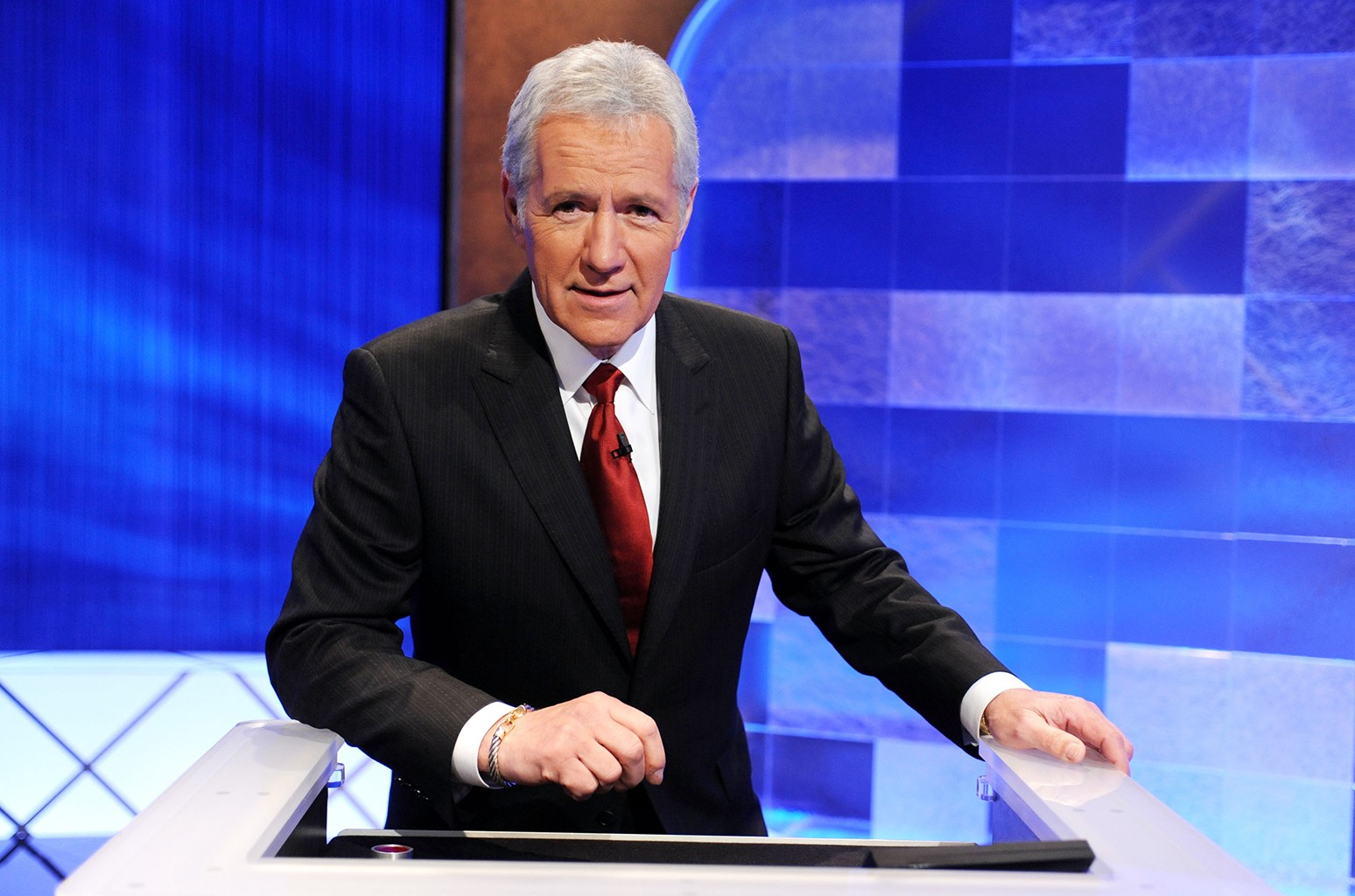 Alex Trebek poses on the set of the Jeopardy!