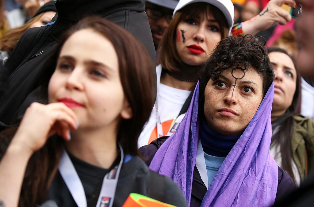 Mae Whitman, Jackie Cruz and Alia Shawkat attend the rally at the Women's March on Washington on January 21, 2017 in Washington, DC.  (Photo by Paul Morigi/WireImage)