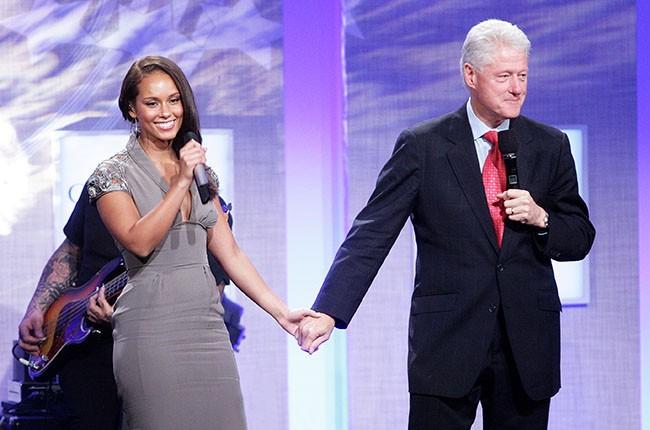 Alicia Keys and Bill Clinton