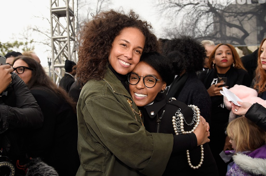 Alicia Keys  and Janella Monae attend the rally at the Women's March on Washington on January 21, 2017 in Washington, DC.