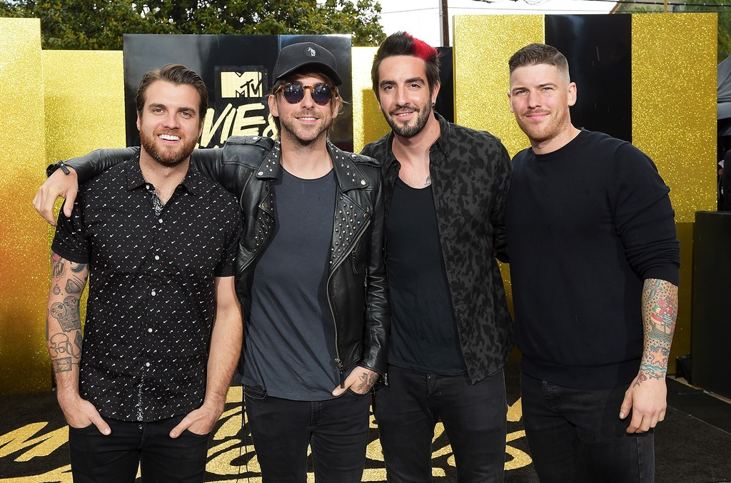 Zack Merrick, Rian Dawson, Alex Gaskarth and Jack Barakat of All Time Low attend the 2017 MTV Movie and TV Awards at The Shrine Auditorium on May 7, 2017 in Los Angeles.