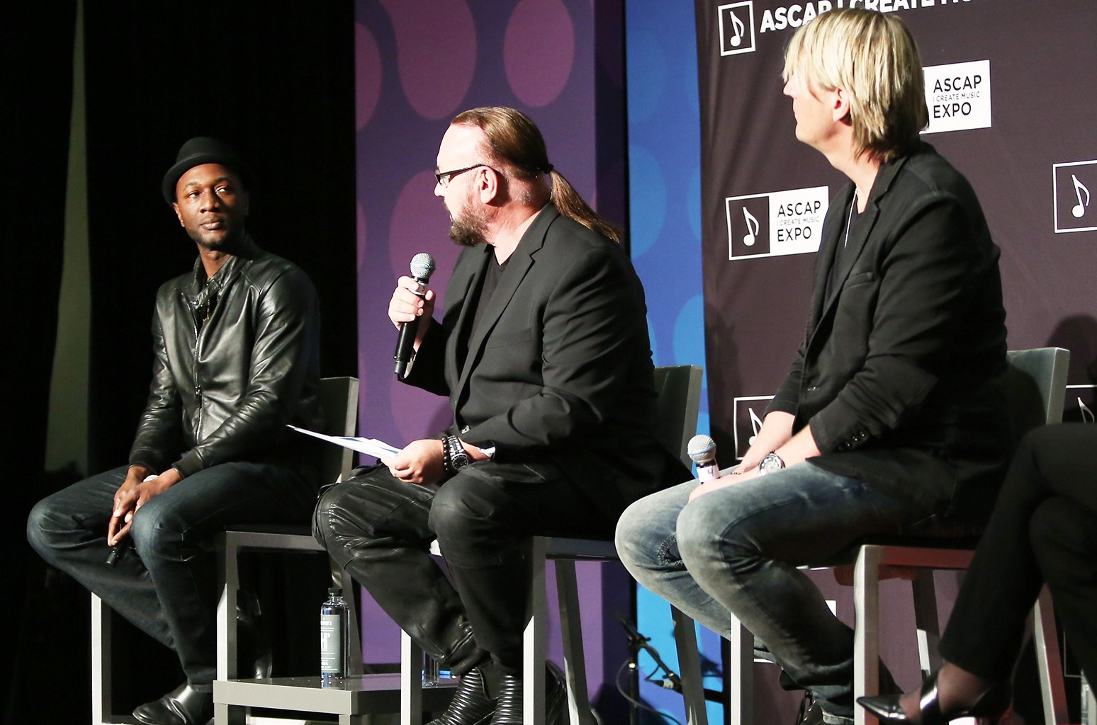 "Singer-songwriter Aloe Blacc, songwriter/producer Desmond Child, and songwriter-producer Niclas Molinder speak onstage at 'Getting Credit Where Credit is Due' during the 2017 ASCAP ""I Create Music"" EXPO on April 14, 2017 in Los Angeles."