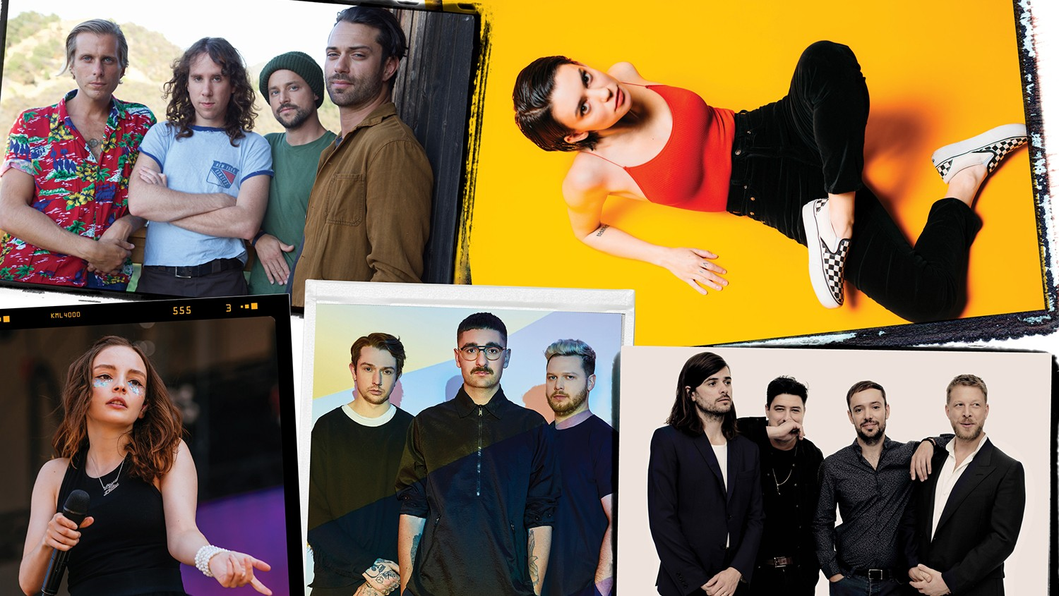 Clockwise from top left: Awolnation, Meg Myers, Mumford & Sons, Alt-J & Lauren Mayberry of Chvrches