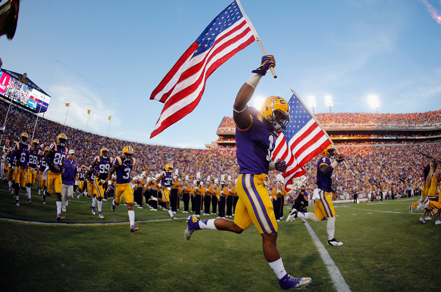 American flag during a footballl game
