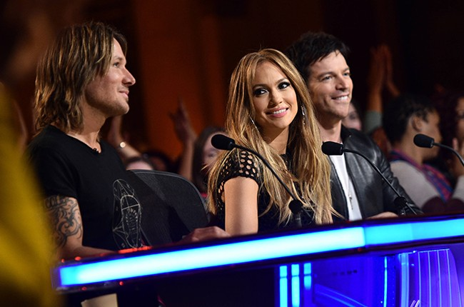 "Keith Urban, Jennifer Lopez and Harry Connick, Jr on the judges' panel as the ""Top 8 girls Perform"" on American Idol XIV on Thursday, March 5, 20150"
