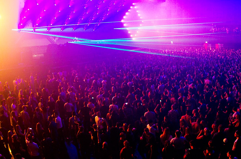 General view of dance music fans in the audience at Amsterdam Dance Event in Heineken Music Hall, Amsterdam, Netherlands on Oct. 18, 2015.