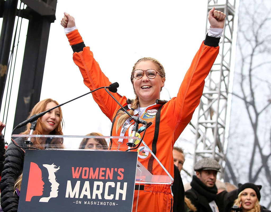 Amy Schumer speaks onstage during the rally at the Women's March on Washington on January 21, 2017 in Washington, DC.  (Photo by Paul Morigi/WireImage)