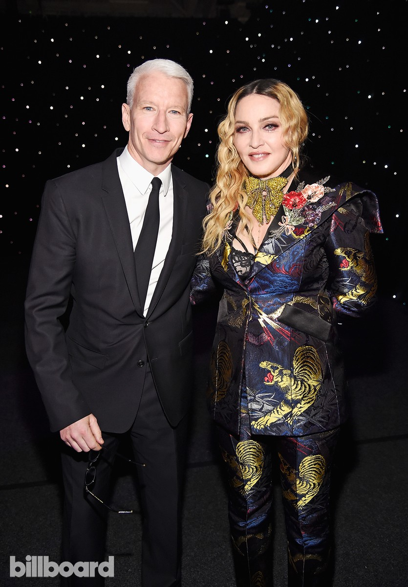 Anderson Cooper and Madonna pose together at the Billboard Women in Music 2016 event on Dec. 9, 2016 in New York City.
