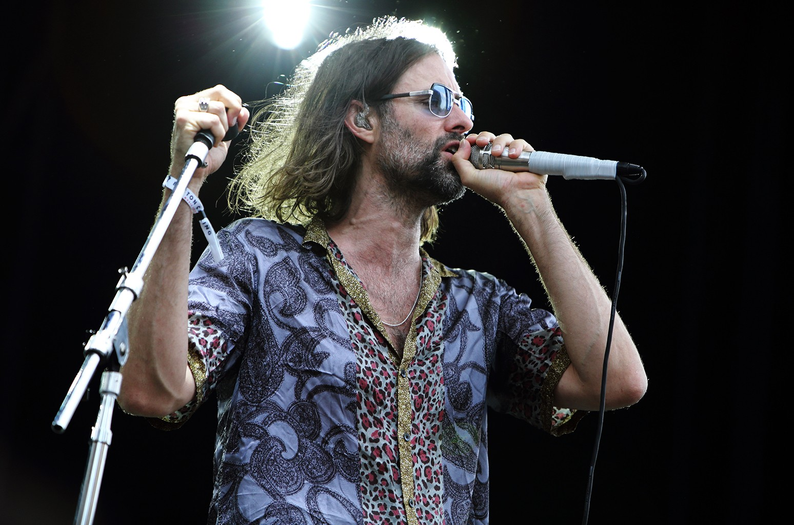 Andrew Wyatt of Miike Snow performs at Boston Calling festival at Boston City Hall Plaza on May 28, 2016 in Boston.
