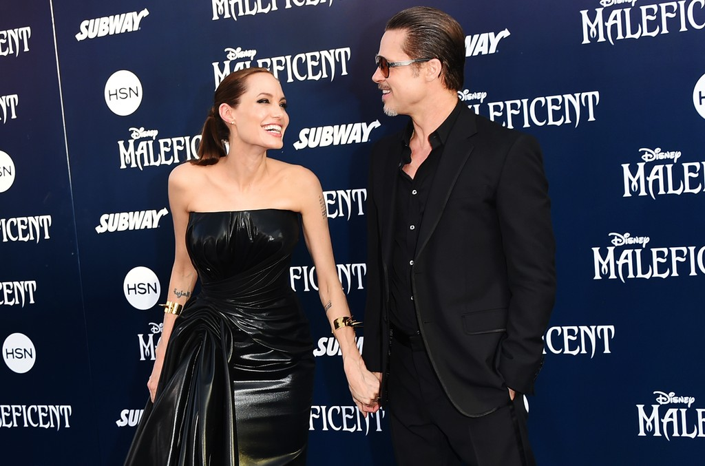 Angelina Jolie and Brad Pitt attend the World Premiere of Disney's 'Maleficent' at the El Capitan Theatre on May 28, 2014 in Hollywood, Calif.