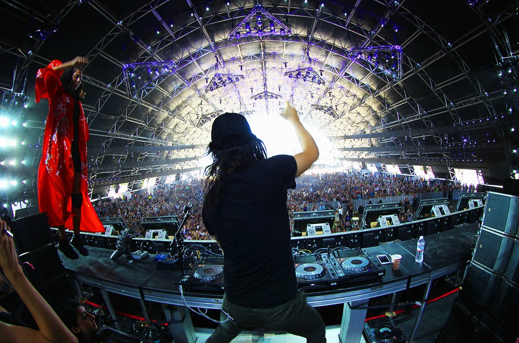 Skrillex performs with Anna Lunoe in the Sahara Tent during day 3 of the Coachella Valley Music And Arts Festival (Weekend 1) at the Empire Polo Club on April 16, 2017 in Indio, Calif.