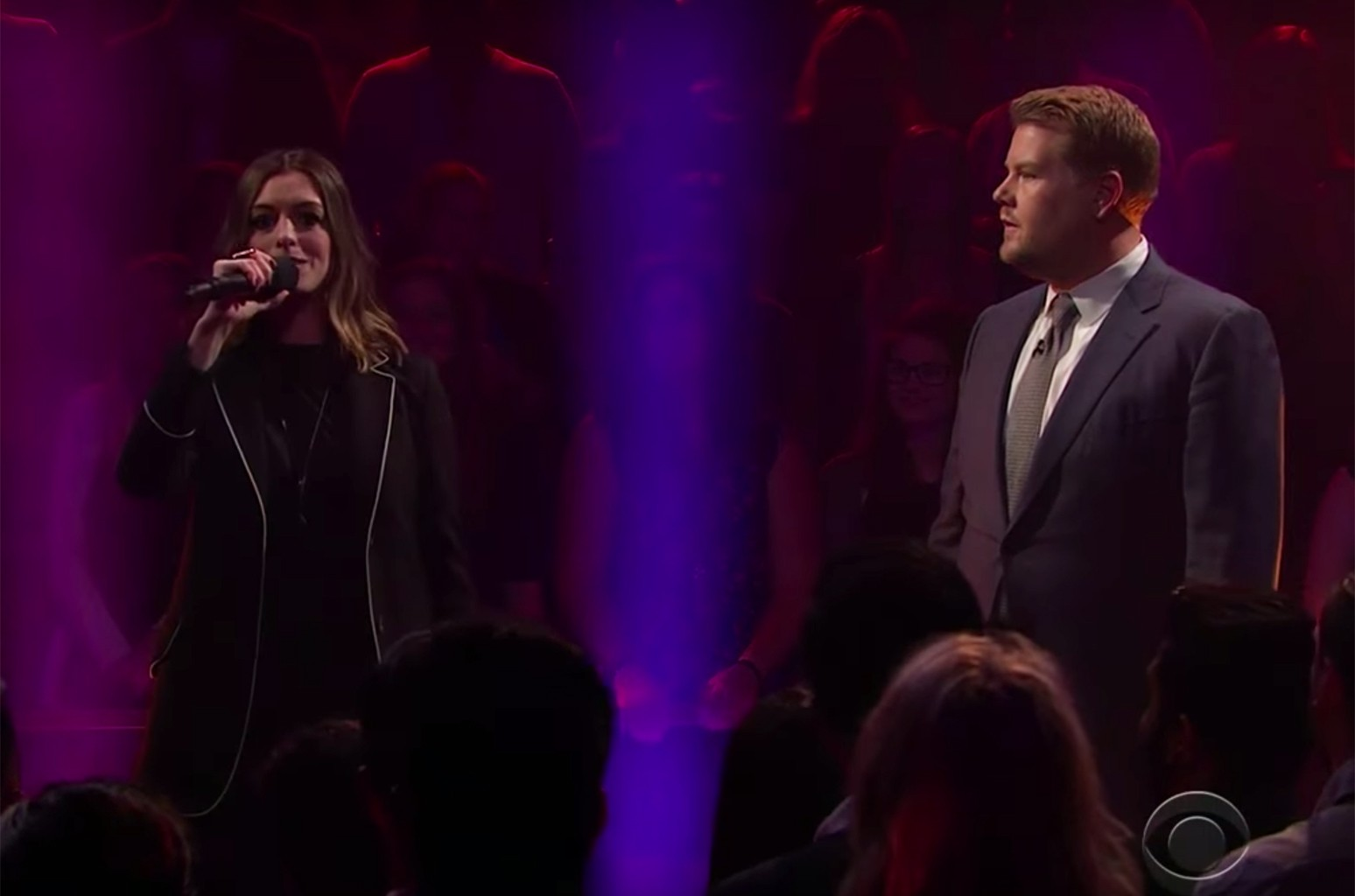Anne Hathaway on The Late Late Show with James Corden.