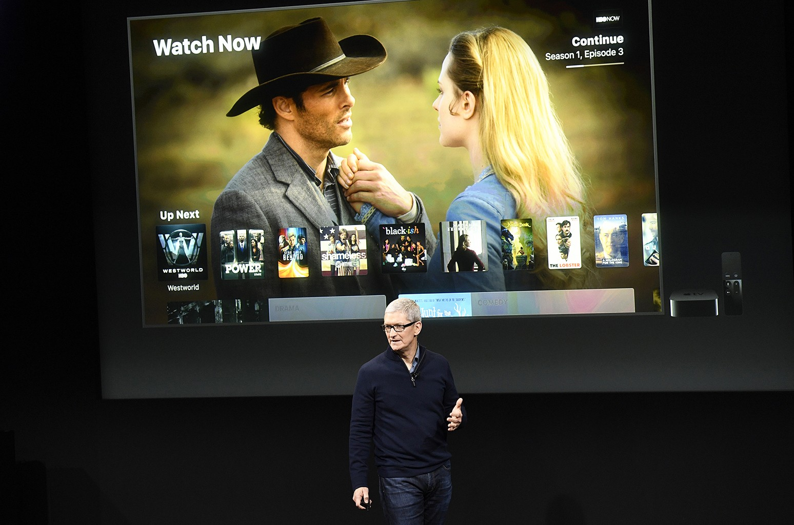 Tim Cook speaks during an Apple Event