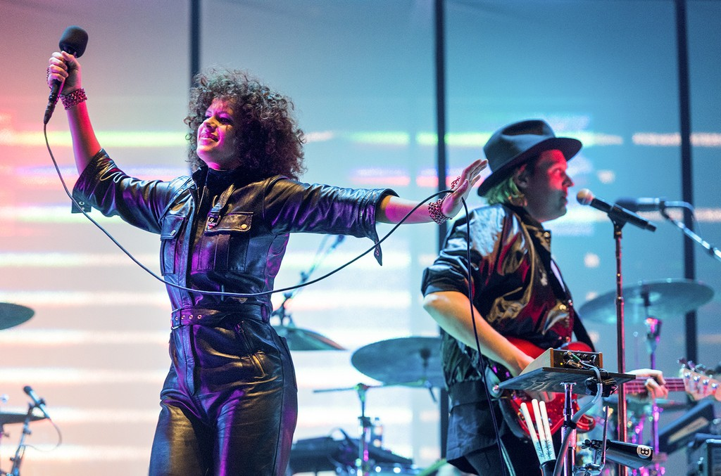 Regine Chassagne and Win Butler of Arcade Fire perform during Primavera Sound Festival 2017 Day 4 at Parc del Forum on June 3, 2017 in Barcelona, Spain.