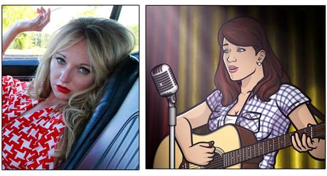 "Singer Jessy Lynn Marten and ""Cherlene"" from ""Archer"""