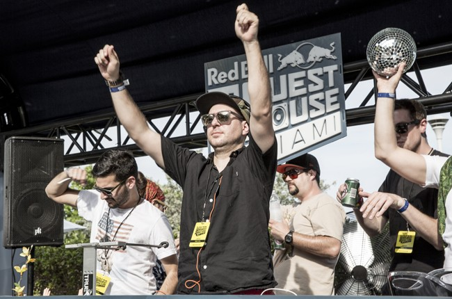 Ardalan and Justin Martin perform at Red Bull Guest House